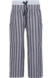 Striped woven linen and cotton-blend wide-leg pants
