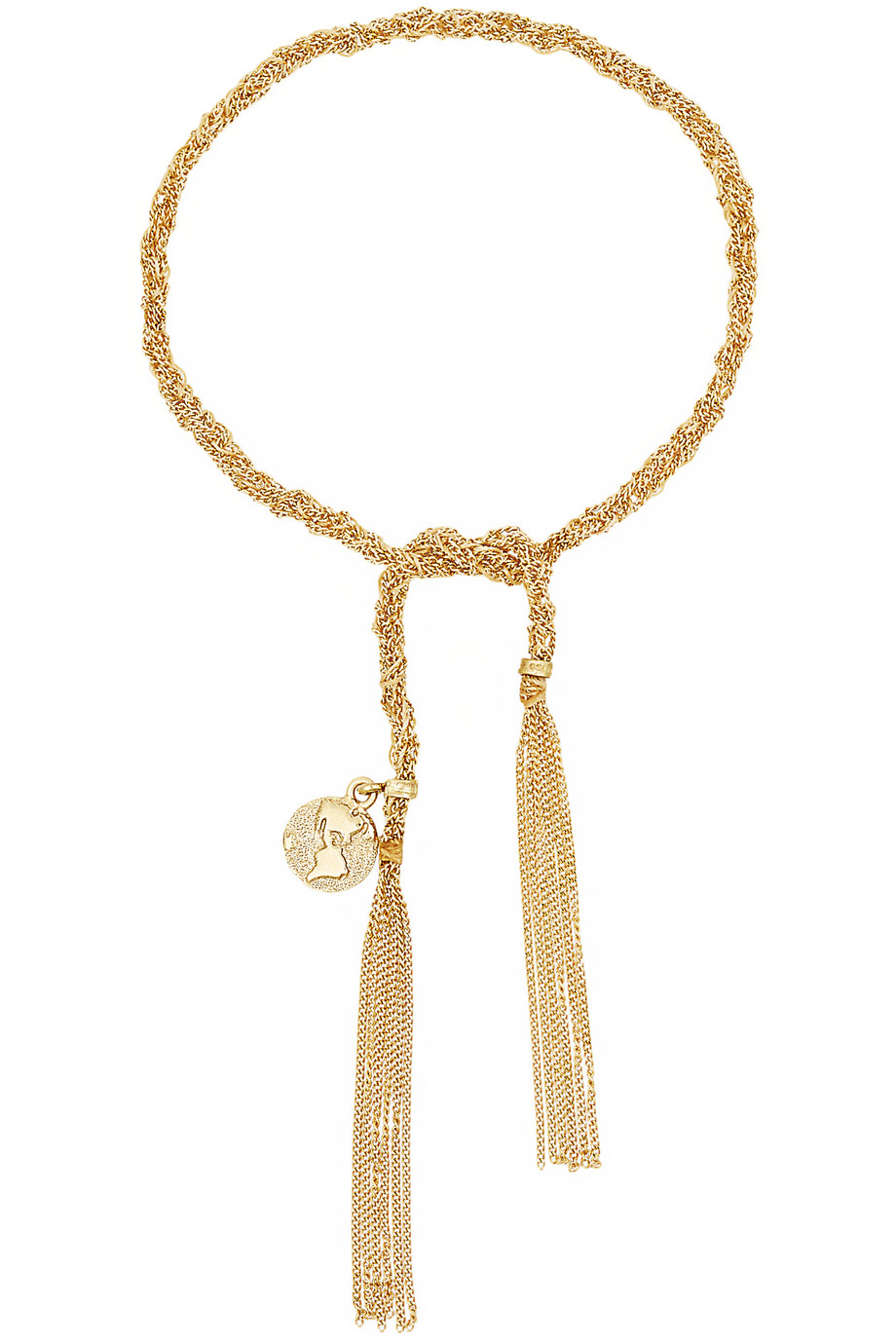 Carolina Bucci Globe Lucky 18-Karat Gold and Silk Bracelet, Women's