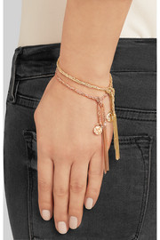 Globe Lucky 18-karat gold and silk bracelet