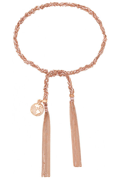 Carolina Bucci Globe Lucky 18-karat Rose Gold And Silk Bracelet NVsvn8U