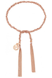 Globe Lucky 18-karat rose gold and silk bracelet