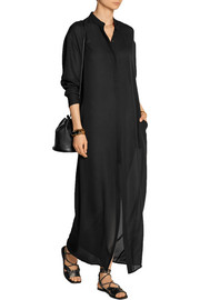 Silk-georgette maxi shirt dress