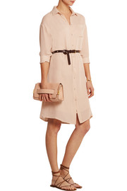 Silk-crepe shirt dress
