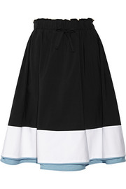 Color-block cotton-poplin skirt