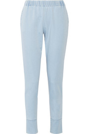 Stretch-denim track pants