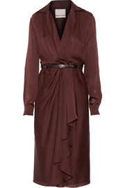 Belted silk-chiffon wrap dress