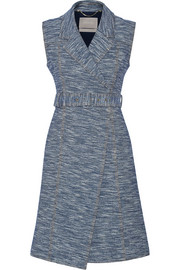 Cotton-blend jacquard wrap dress