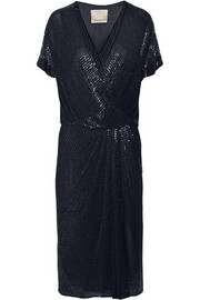 Beaded silk-chiffon wrap-effect dress