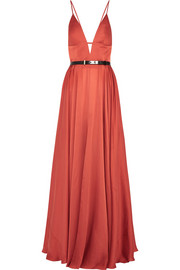 Cutout silk-satin gown