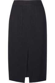 Wool, silk and cotton-blend canvas midi skirt