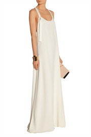 Racer-back crepe gown