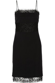 Adam Lippes Paneled silk-crepe and lace dress