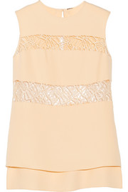 Lace-paneled silk top