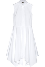 Asymmetric cotton-poplin midi dress
