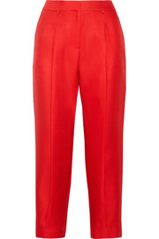 Cropped wool and silk-blend twill pants