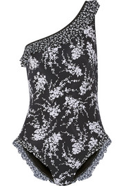 One-shoulder floral-print swimsuit