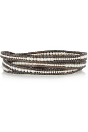 Silver, pearl and leather five wrap bracelet