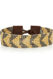Gold-plated, gunmetal-plated and leather bracelet