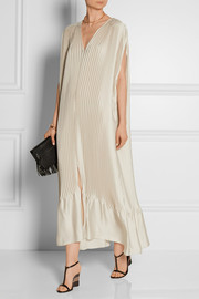 Plissé-satin maxi dress