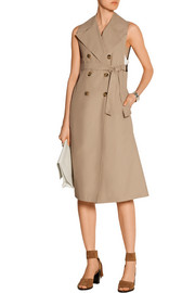 Sleeveless cotton-blend twill trench coat