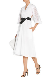 Broderie anglaise-paneled cotton-poplin dress