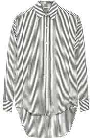 Striped oversized silk-shantung shirt