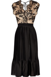 Lace and pleated satin-jersey dress