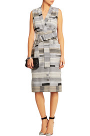 Wrap-front jacquard dress