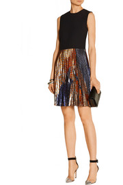 Victoria, Victoria Beckham Crepe and printed silk-blend lamé dress