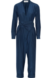 Belted silk and cotton-blend jumpsuit