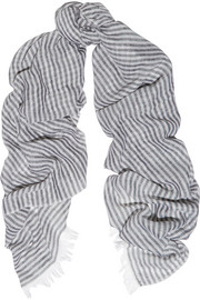 Chan Luu Striped cashmere and silk-blend scarf