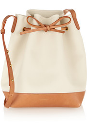 Canvas and leather bucket bag