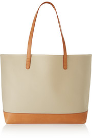 Large canvas and leather tote