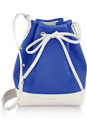 Mini leather-trimmed canvas bucket bag
