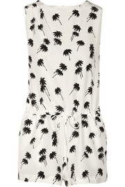 Printed silk-crepe playsuit