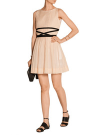 Pleated cotton and silk-blend mini dress