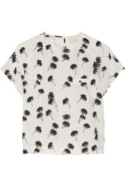 Band of Outsiders Printed silk-crepe top