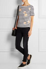 Rose-print striped cotton top