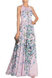 Floral-print cotton-voile gown