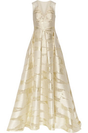 Metallic fil coupé gown