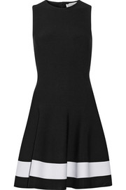 Victoria Beckham Fluted striped stretch-knit dress