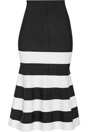 Fluted striped stretch-knit midi skirt