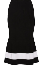 Victoria Beckham Fluted striped stretch-knit midi skirt