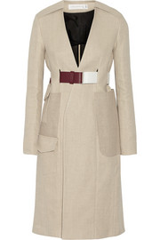 Jute and silk-blend cavnvas trench coat