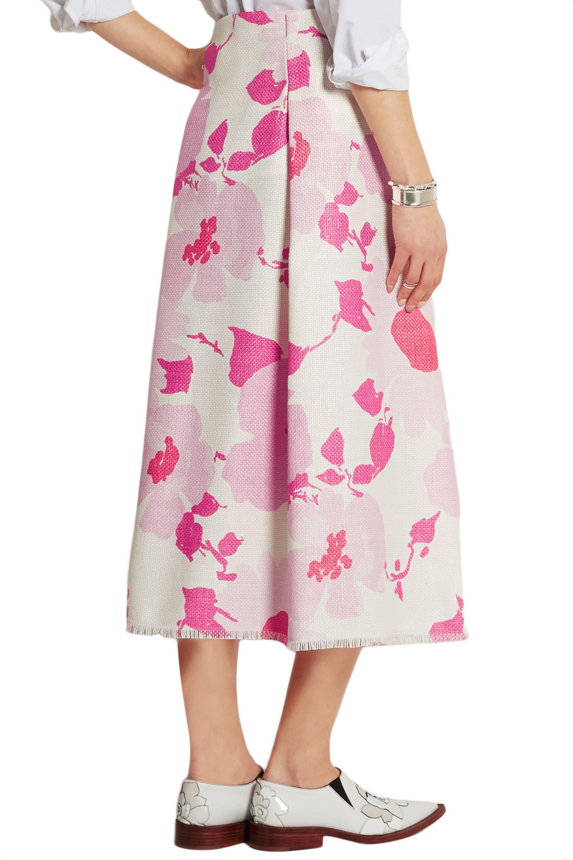 Victoria Beckham Belted floral-print raffia skirt