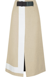 Victoria Beckham Striped jute and silk-blend canvas skirt