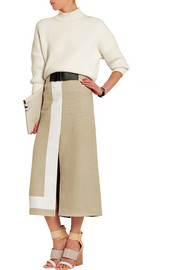 Striped jute and silk-blend canvas skirt