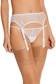 La Robe Blanche Chantilly lace and tulle suspender belt
