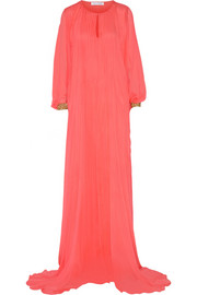 Pleated silk-chiffon kaftan