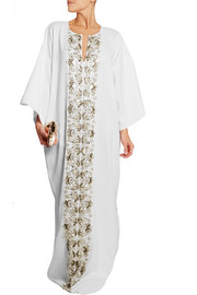 Embellished stretch-silk georgette kaftan